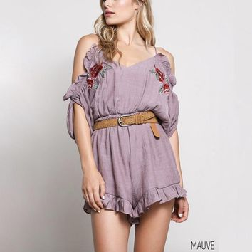 adilyn cold shoulder ruffle hem embroidered romper - more colors