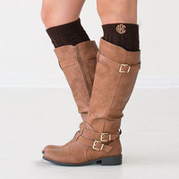 Monogrammed Dark Brown Boot Cuffs  Font Shown NATURAL CIRCLE in Khaki