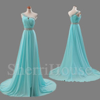 Sequins One-shoulder Strapless A-Line Long Bridesmaid Celebrity dress ,Court Train Chiffon Evening Party Prom Dress Homecoming Dress