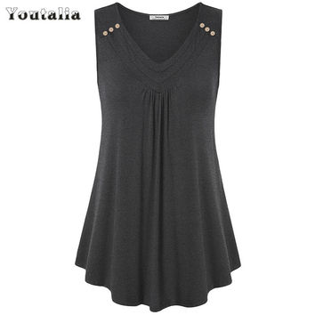 Youtalia Women Summer Sexy Sleeveless V Neck Pleated Loose Fit Flowy Flare Curved Hem Tunic Tank Tops Lady Button Solid Top Vest