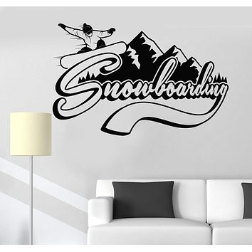 Vinyl Wall Decal Snowboarding Extreme Sports Mountains Stickers Unique Gift (535ig)