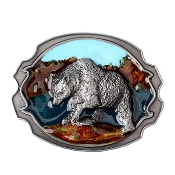 Vintage Rodeo 3D Bear Shape Metal Belt Buckle Western Cowboy Native American