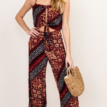 Person Of Interest Maroon Black Tapestry Floral Pattern High Waist Loose Wide Leg Crop Pant