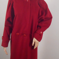 Long Women's Red Wool Coat - Vintage Winter Coat by Braefair -  Women's Outerwear - Size 3/4 - Free Shipping