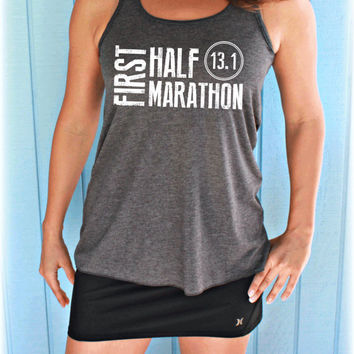 Womens Flowy First Half Marathon Race Workout Tank Top. Fitness Motivation. Running Tank Top. Gift for Runner.
