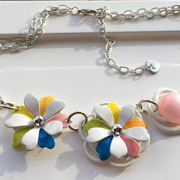 Whimsical Flower Necklace, White, Multi Colored, Assemblage, Cottage Chic, OOAK, Up cycled