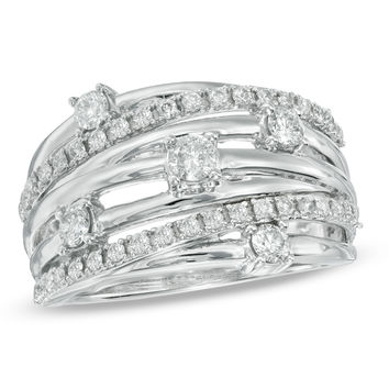 3/4 CT. T.W. Diamond Layered Orbit Ring in 10K White Gold