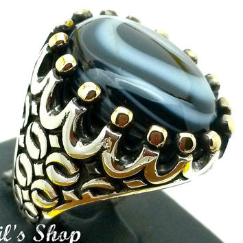 Men's Ring, Turkish Ottoman Style Jewelry, 925 Sterling Silver, Gift, Traditional Handmade, With Banded Agate Stone, Size 9.5
