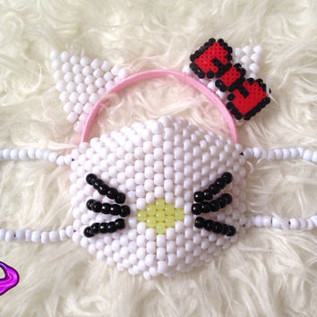 Hello Kitty Mask and Ears Kandi Set, Kitten Cat Mask, Kandi Cat Ears, Hello Kitty Ears, Red Hello Kitty Bow, EDM Rave Gear, Rave Wear, EDC
