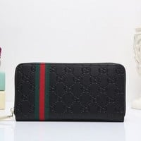 DCCK6HW Gucci' Unisex Clutch Purse Classic Fashion Double G Letter Embossed Long Section Zip Wallet
