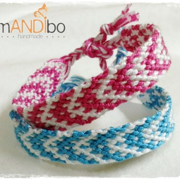 Set of two Sibling Girl Boy Macrame Knotted Friendship Bracelet - Woven Wristband - Support our Cause