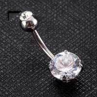 Black White Round Cubic Zircon Body Jewelry Circle Belly Button Ring Body Piercing Navel Piercing Women Body Bijoux Accessories