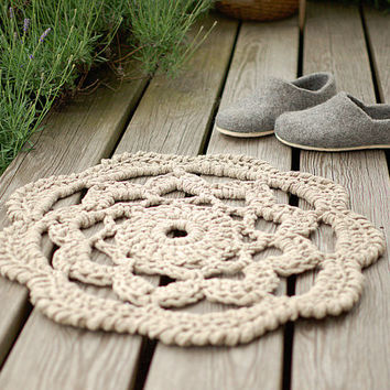 Linen rope crochet rug - Oversized doily rug Deck decor Patio rug - crochet carpet natural linen