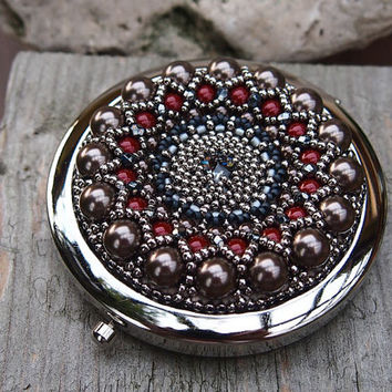Compact Mirror, round, embellished with bead embroidery in antique look, OOAK, silver, claret, brown