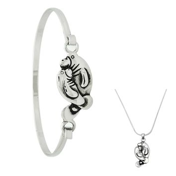 Manatee Necklace or Bracelet in Silver