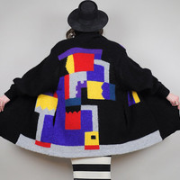 MOHAIR vtg Abstract art OVERSIZED duster Sweater Cubist maxi long COAT draped shawl collar 80's
