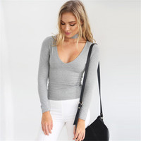 Sexy V-Neck Slim Tops with Zipper Choker