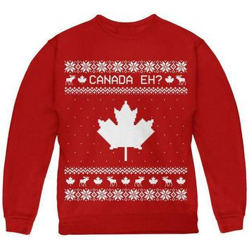 PEAPGQ9 Canadian Canada Eh Ugly Christmas Sweater Youth Sweatshirt