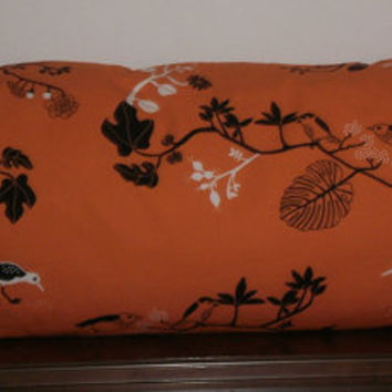 Decorative Body Pillow Cover FREE DOMESTIC SHIPPING  -Approx 20 x 54 inch Ikea Orange and Black Asian Inspired