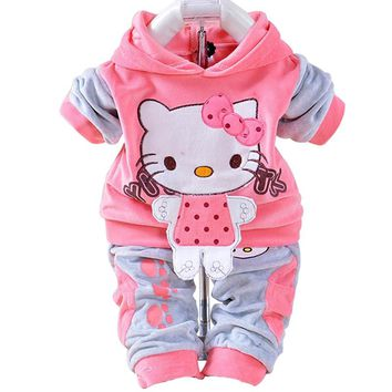 Baby Boys Girls Hello Kitty Clothing Sets Kids Velvet Suits Infant Tracksuits Sports Outerwear Cartoon Hoodies Pants 2pcs Sets