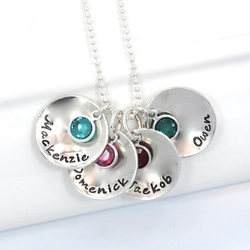 Personalized Hand-Stamped Mother's Necklace Circles with Children's names and birthstones.