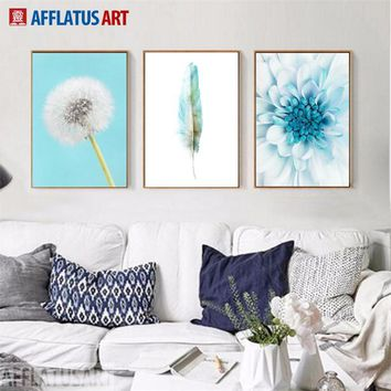 AFFLATUS Chrysanthemum Feather Dandelion Wall Art Canvas Painting Nordic Posters And Prints Wall Pictures For Living Room Decor