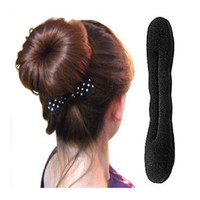 Big Size Solid Black Nylon Sponge Taenia Hair Donut Hair Accessories  Device Quick Messy Bun Hairstyle Hats A16R1