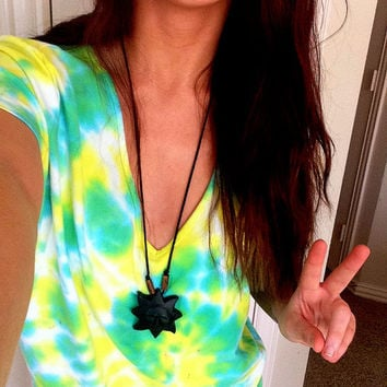 Tie Dye Hippie Boho T Shirt Green Yellow Swirl V Neck Shirt