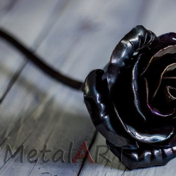 Metal rose sculpture - 6th Anniversary gift/ 11th anniversary/ 6 year anniversary/Iron rose/ steel rose/ Steampunk/ Customized gift for her