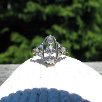 Dainty Vintage to Antique Diamond Ring - Fiery Old Mine Cut and Old Rose Cuts - Pretty Details