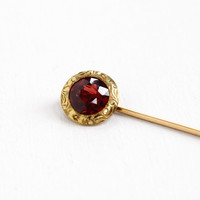 Antique 14k Yellow Gold Garnet Stick Pin - Vintage Early 1900s Edwardian Art Nouveau Dark Red Gem Etched Flowers Fine Jewelry