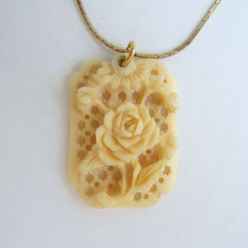 Carved Bone Rose Pendant Necklace Vintage Floral Jewelry