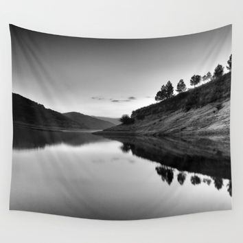 Forest Reflection Bw Wall Tapestry by Guido Montañés