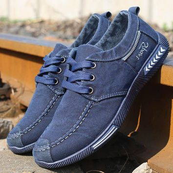 GNOME Denim Casual Shoes Men Denim Canvas Lace-Up Men Casual Shoes New Plimsolls Male Footwear Spring Autumn Sneakers Men