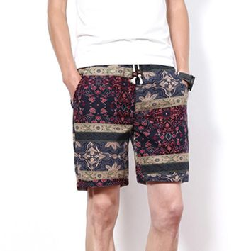 Summer Men's Beach Shorts Personality Printing Thin Section Breathable Comfort Casual Men's Linen Shorts Plus Size M-5XL 3