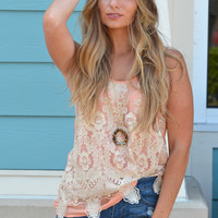Metallic Detail Top In Coral
