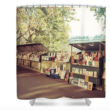 Paris Booksellers Along the Seine Polyester Fabric Shower Curtain