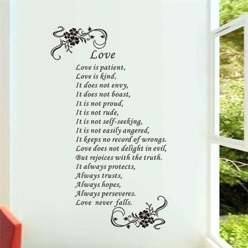 """""""Love is Patient Love is Kind Love Never Fails"""" Removable Vinyl Decals"""