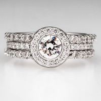 Three Band Bezel Set Diamond Engagement Ring Bridal Set 18K White Gold