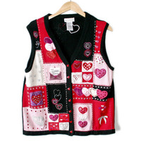 Hearts and Love Letter Valentines Ugly Sweater Vest