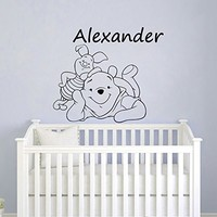 Name Wall Decal Vinyl Sticker Winnie The Pooh Wall Art Baby Nursery Bedroom Winnie The Pooh Nursery Decal MN542