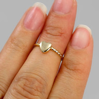 Heart Midi Ring in Gold