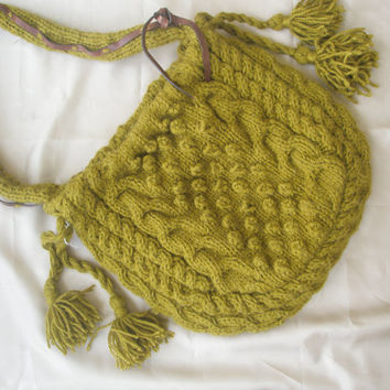 Olive green light hand knitted bag
