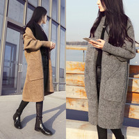 Sell Well New Autumn and winter knit cardigan sweater buttons blouses wild JacketKnitted Cashmere sweater women Coat Overcoat