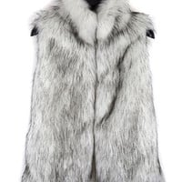 Silver Gray Stand Collar Faux Fur Waistcoat