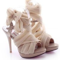 High Heel Chiffon Lace Up Sandals for Women TI91