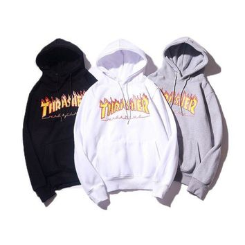 Thrasher Men and women with hoodies plus cashmere sweater coat