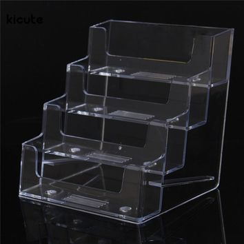 Best Promotion Four Pockets Clear Desktop Office Counter Acrylic Business Card Holder Stand Display Fit For Office School