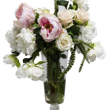 Lifelike Peony & Rose Floral Arrangement in Footed Glass Vase