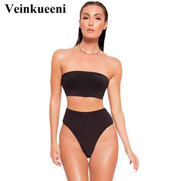 Veinkueeni 2017 High Cut Bandeau bikini set Swimwear female two pieces swimsuit High Waist Bikini Women Bathing Suit biquini K20